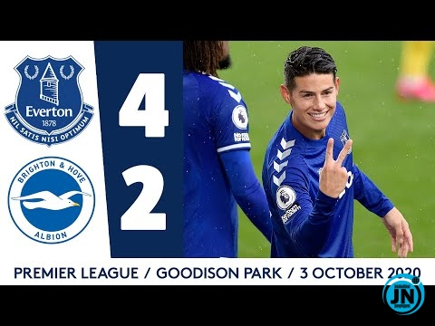 Premier League - Everton 4-2 Brighton | James Rodriguez At The Double!.